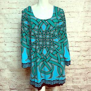 Nicole Miller Size L Teal Blue lined Dress #519